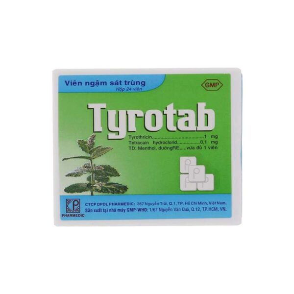 Tyrotab lozenges are used to treat diseases associated with infections in the throat, infections in the mouth, before and after surgery: