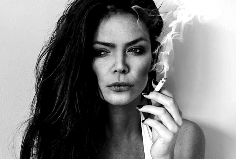 Smoking woman. Smoking bad for skin